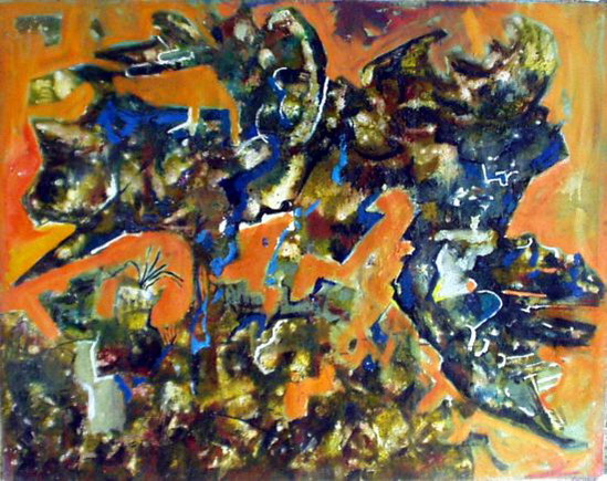 """Composition 2"", oil, 170x135 cm, 1985."