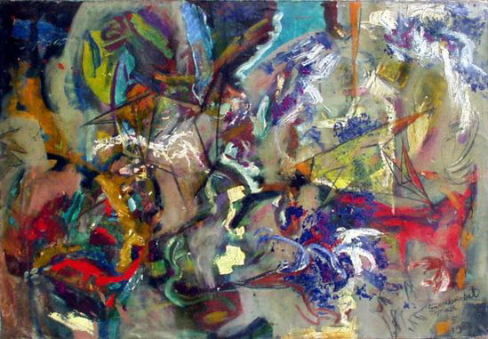 """Composition 8"", oil, 129x89 cm, 1988."